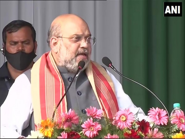 Union Home Minister Amit Shah speaking at a rally in Tinsukia. (Photo/ANI)
