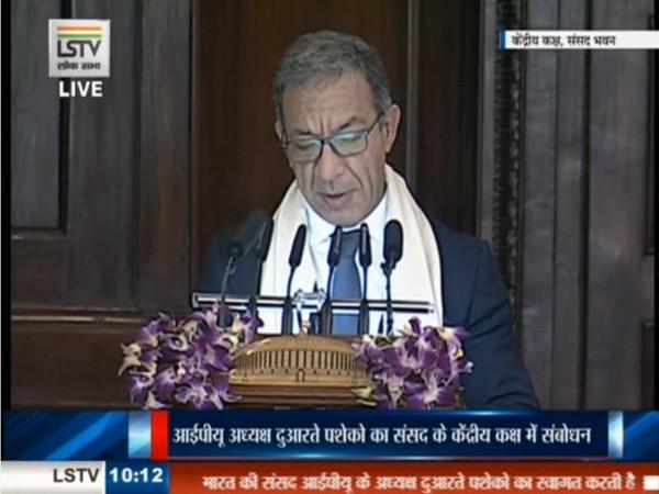 President of Inter-Parliamentary Union, Duarte Pacheco addresses MPs