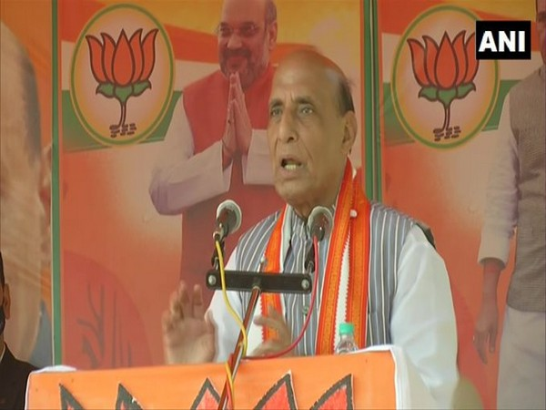 Rajnath Singh addressing a public meeting in West Midnapore on Tuesday