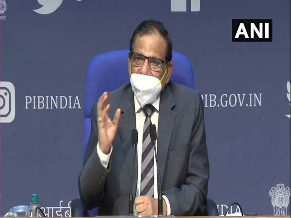 Dr VK Paul, Member (Health) of the Niti Aayog addressing a press briefing. (Photo/ANI)