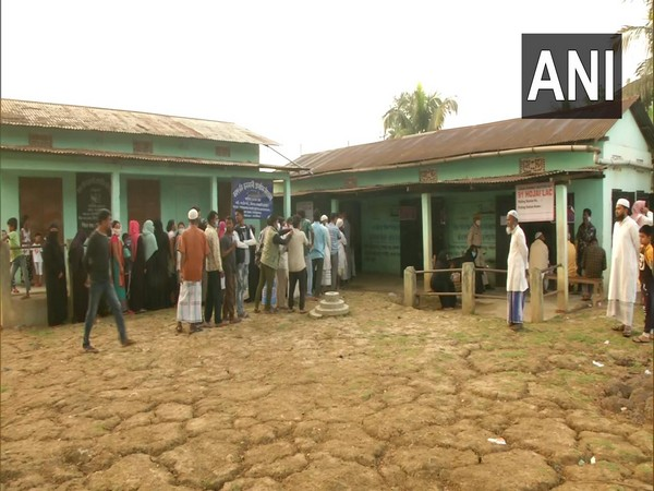Polling station in Hojai, Assam (Photo/ANI)