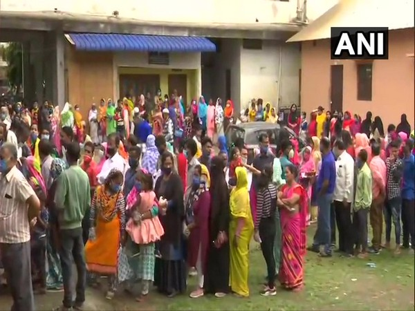 Polling underway in Nagaon for second phase assembly polls in Assam. (Photo/ANI)