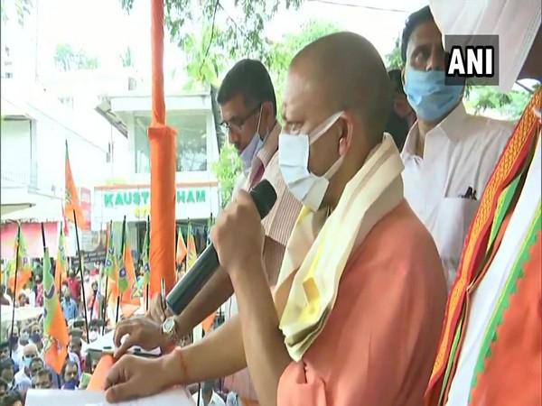 UP CM Yogi Adityanath speaking at a rally in Kerala. (Photo/ANI)