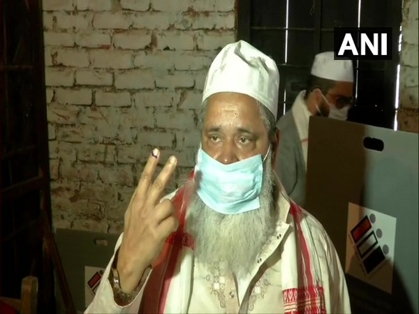 All India United Democratic Front President Badruddin Ajmal voted at polling station number 21 in Hojai (Photo/ANI)