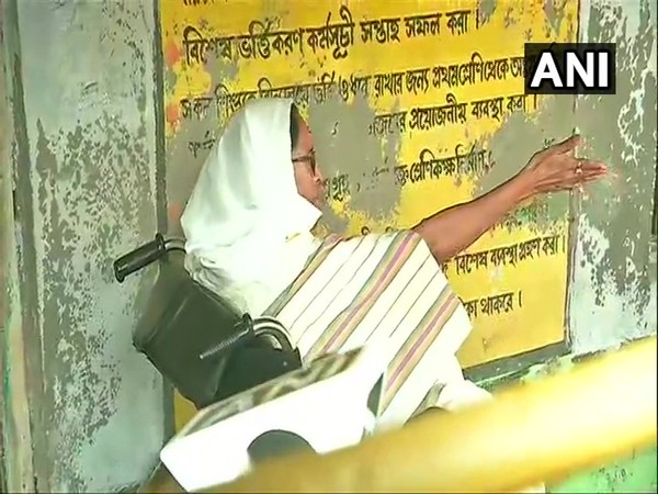 West Bengal CM Mamata Banerjee at a polling booth in Nandigram on Thursday (Photo/ANI)