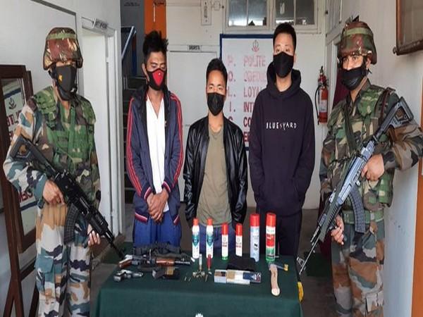 Assam Rifles apprehend three in Aizawl (Pic Credit: Assam Rifles Twitter)