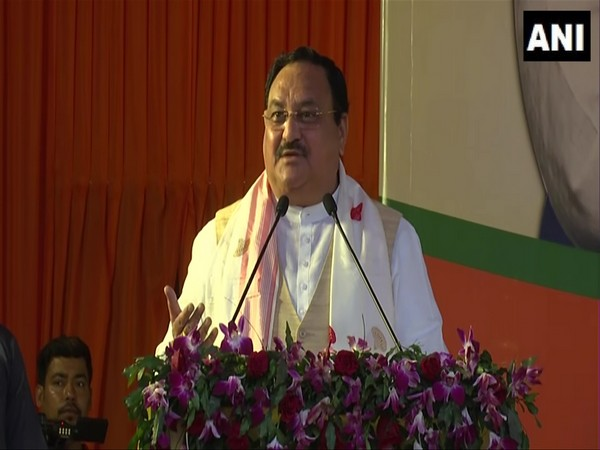 BJP chief JP Nadda speaking at a rally in Assam.