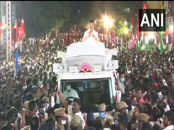 MK Stalin campaigns in Royapuram assembly constituency on Monday. [Photo/ANI]