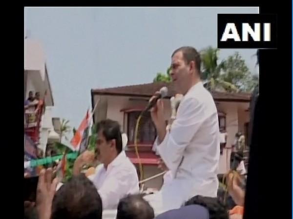Congress leader Rahul Gandhi at a rally in Kottayam. (Photo/ANI)