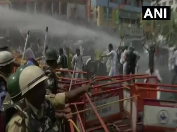 Police used opened water cannon and lathi-charged RJD workers during a protest in Patna on Tuesday. [Photo/ANI]