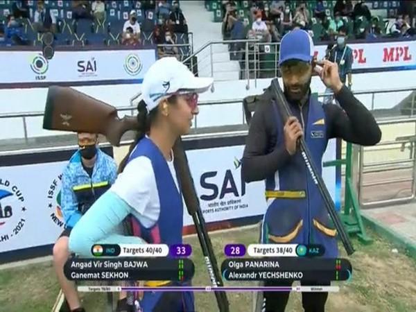 Ganemat Sekhon and Angad after winning gold (Photo/ SAI Media Twitter)