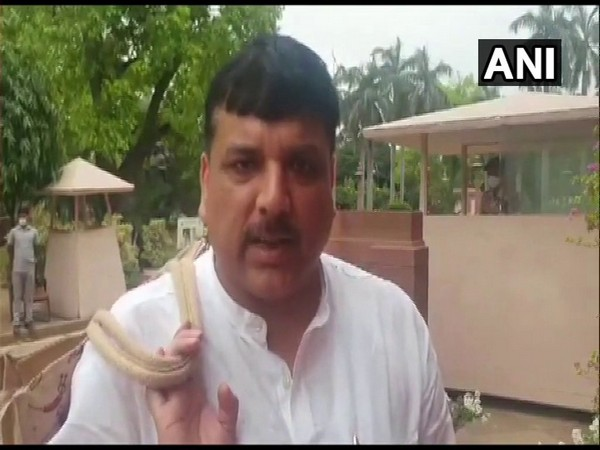 AAP MP Sanjay Singh speaking to ANI in Delhi on Tuesday. [Photo/ANI]