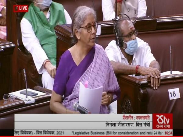 Union Finance Minister Nirmala Sitharaman in Rajya Sabha (Photo/ANI)