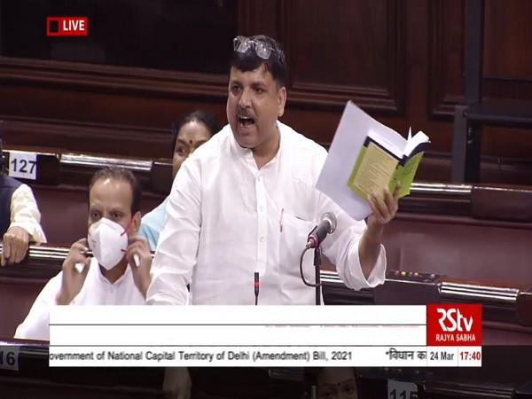 AAP MP Sanjay Singh in Rajya Sabha (Photo/ANI)