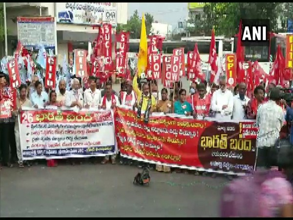 Left parties in Visakhapatnam participating in Bharat band