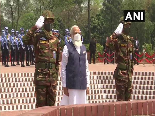 Prime Minister Narendra Modi at the National Martyrs' Memorial in Bangladesh on Friday. (Photo/ANI)