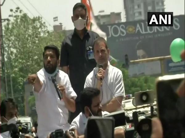 Rahul Gandhi addressing a gathering in Palakkad on Friday. [Photo/ANI]