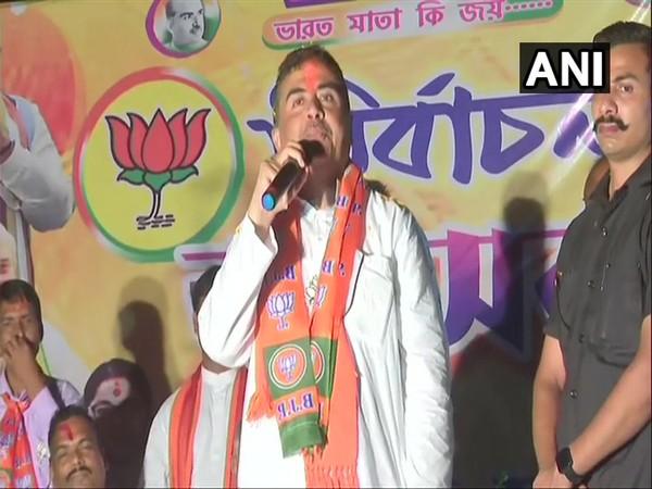 BJP leader Suvendu Adhikari in Nandigram (Photo/ANI)