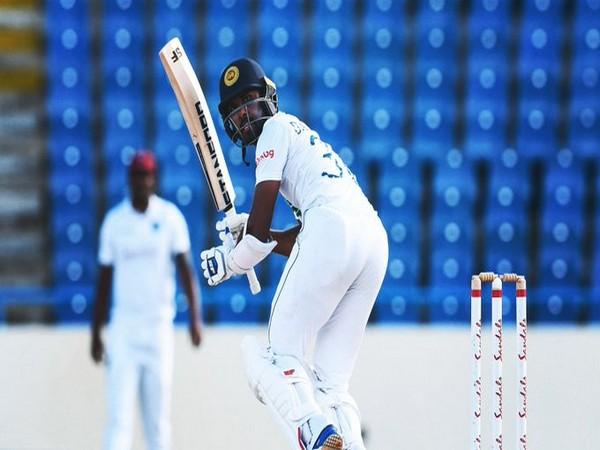 Dhananjaya de Silva in action against West Indies (Photo/ ICC Twitter)