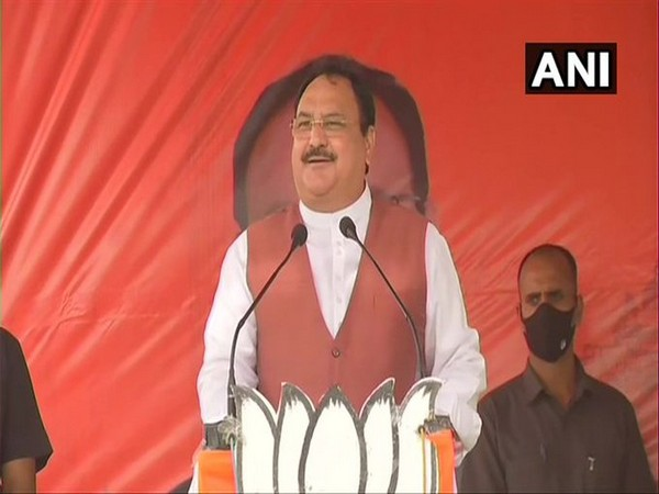 BJP national president JP Nadda speaking at a public gathering in Hooghly on Wednesday. (Photo/ANI)