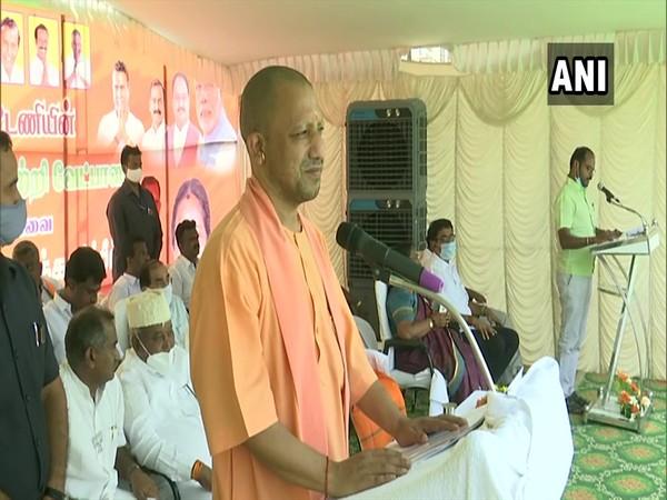 Yogi Adityanath addressing a public rally in Coimbatore on Wednesday. [Photo/ANI]