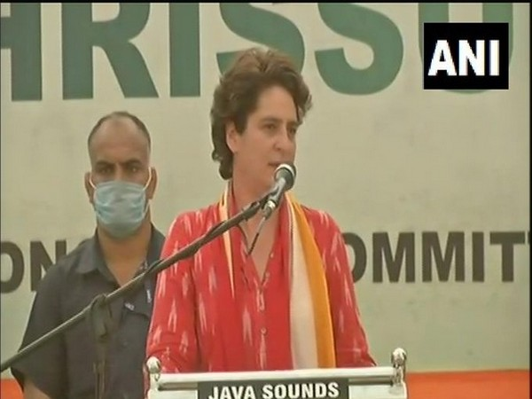 Priyanka Gandhi addressing public rally in Thrissur on Wednesday. [Photo/ANI]