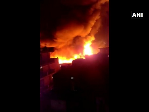 A fire breaks out at shanties in Gurugram's Nathupur.