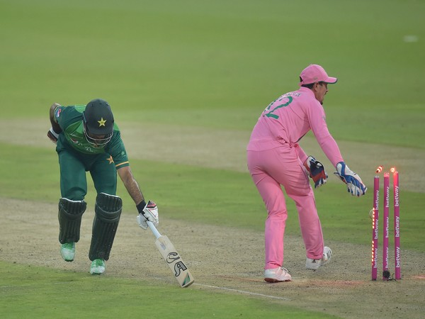 Fakhar Zaman gets run-out in the second ODI against SA (Photo/ ICC Twitter)