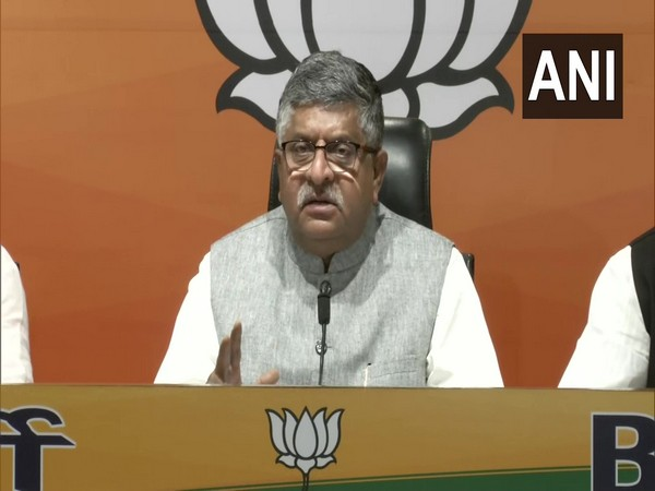 Union Minister Ravi Shankar Prasad speaking at a press conferance in Delhi on Monday. (Photo/ANI)