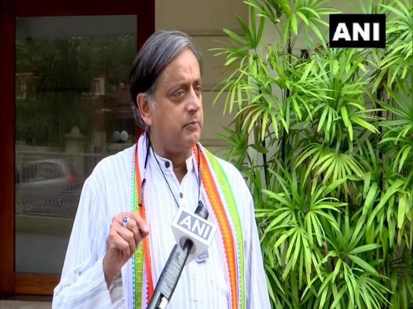 Congress leader Shashi Tharoor speaking to ANI in Thiruvananthapuram on Monday. [Photo/ANI]