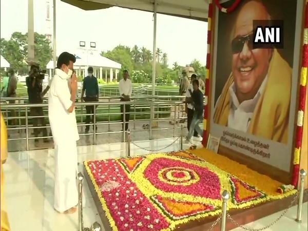 DMK chief MK Stalin at Karunanidhi's memorial in Chennai on April 6. (Photo/ANI)