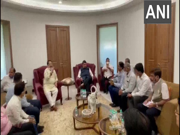 Former Maharashtra CM Devendra Fadnavis meeting with Trade Association representatives in Mumbai. (Photo/ANI)