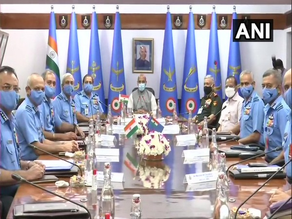 Defence Minister Rajnath Singh at the Inaugural Session of the IAF Commanders' Conference.