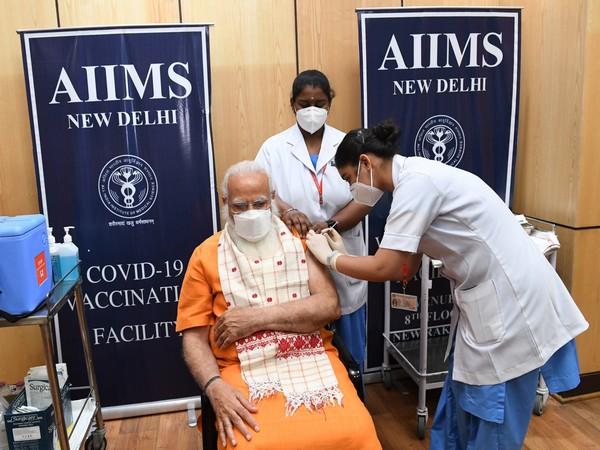 PM Modi receives 2nd dose of Covid vaccine at AIIMS, Delhi (Photo/ANI)