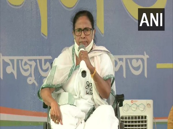 West Bengal Chief Minister Mamata Banerjee during a public rally in Domjur on Thursday. (Photo/ANI)