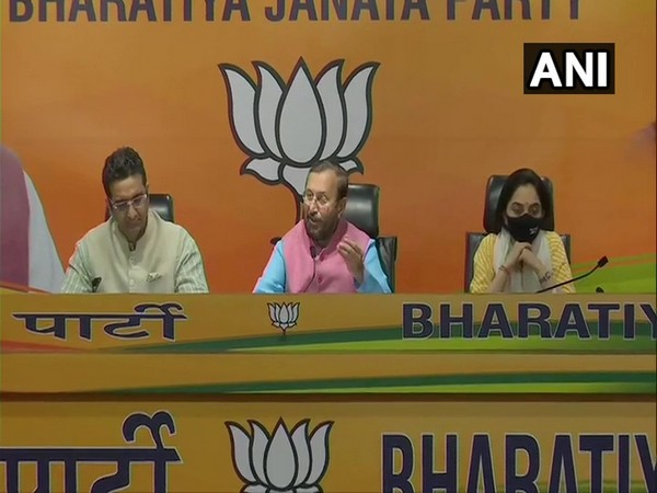 Union Minister Prakash Javadekar at a press conference in New Delhi. (Photo/ANI)