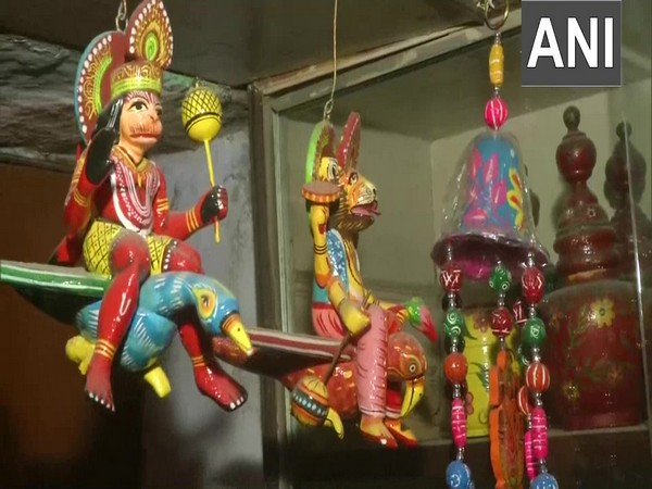 Wooden toys on sale at a shop in Varanasi. [Photo/ANI]