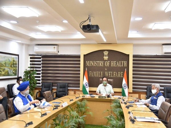 Union Health Minister Harsh Vardhan attending 24th meeting of the high-level Group of Ministers (GoM). (Photo credit: Twetter)