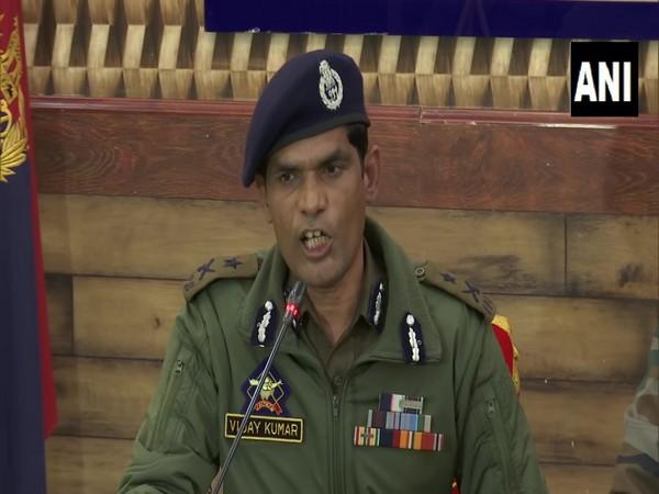 IGP Kashmir  Vijay Kumar while addressing a press conference in Srinagar. (Photo/ANI)