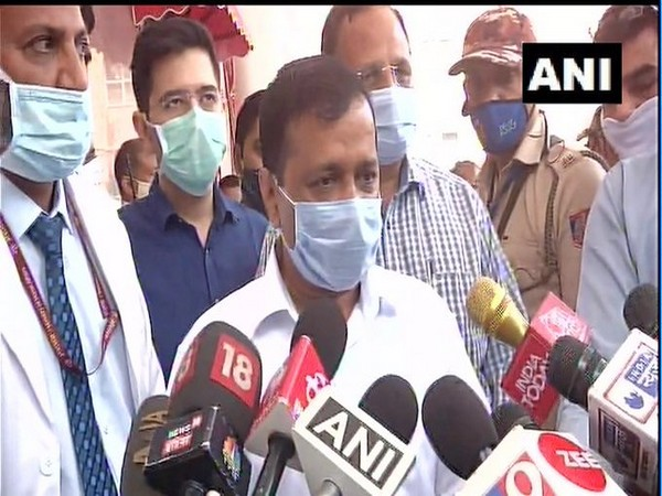 Arvind Kejriwal speaking to reporters outside LNJP Hosiptal in Delhi on Saturday. [Photo/ANI]