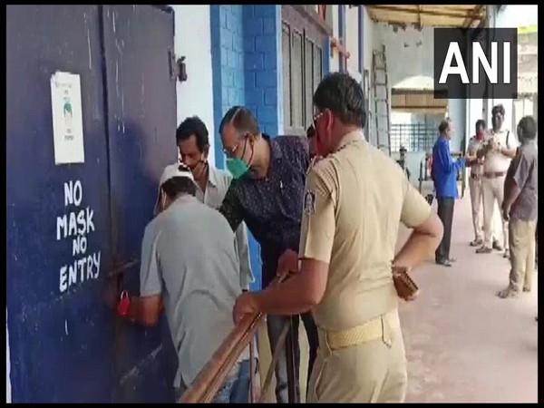 A cinema hall being sealed in Odisha's Paralakhemundi on Monday. [Photo/ANI]