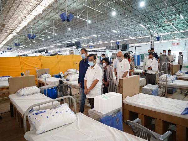 Delhi Chief Minister Arvind Kejriwal visited Sardar Patel Covid Care Centre on Monday. [Photo/ANI]