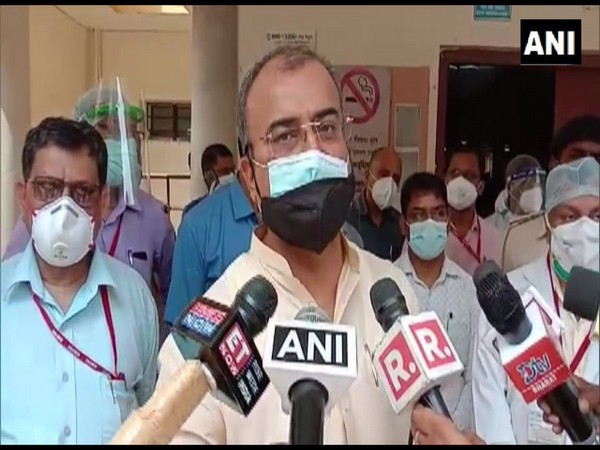 Bihar Health Minister Mangal Pandey speaking to reporters.