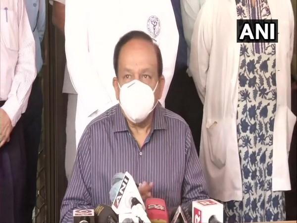 Union Health Minster Dr Harsh Vardhan addressing the media in Delhi. (Photo/ANI)