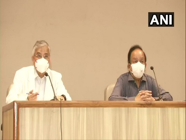 AIIMS Director Dr Randeep Guleria, Union Health Minister Dr Harsh Vardhan (Photo/ANI)