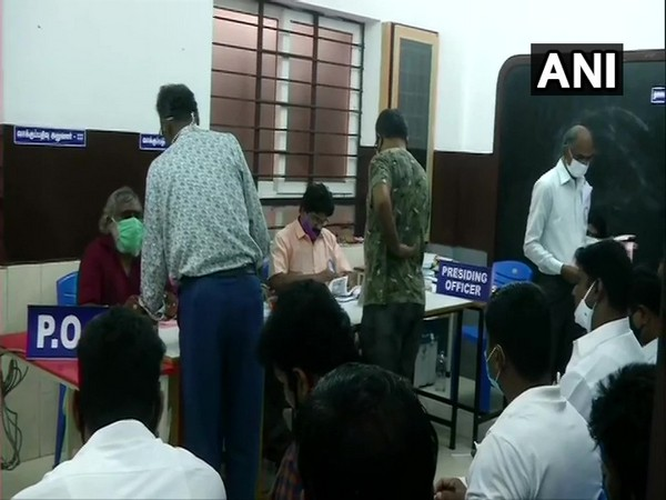 Re-polling underway at booth no 92 in Velachery constituency on Saturday. [Photo/ANI]