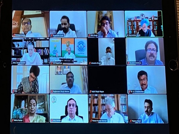 The Congress Working Committee video conference. (Photo/ANI)