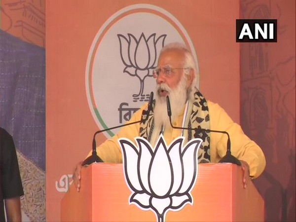 Prime Minister Narendra Modi addresses public meeting in Asansol on Saturday. [Photo/ANI]
