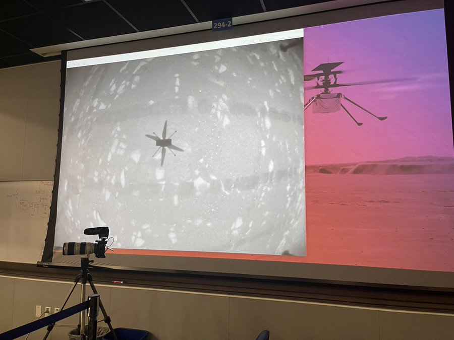 The space agency's helicopter team live-streamed images of the chopper flying on Mars, in the early morning hours on Monday, April 19.