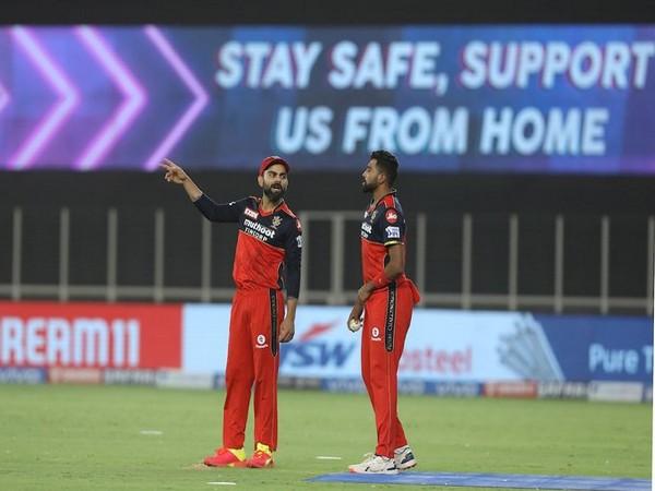 RCB skipper virat Kohli with Mohammed Siraj (Photo/ IPL Twitter)